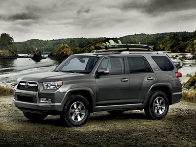 V6 SR5 4x4 shown in Magnetic Gray Metallic with available backup camera, Convenience Package and accessory roof rail cross bars.